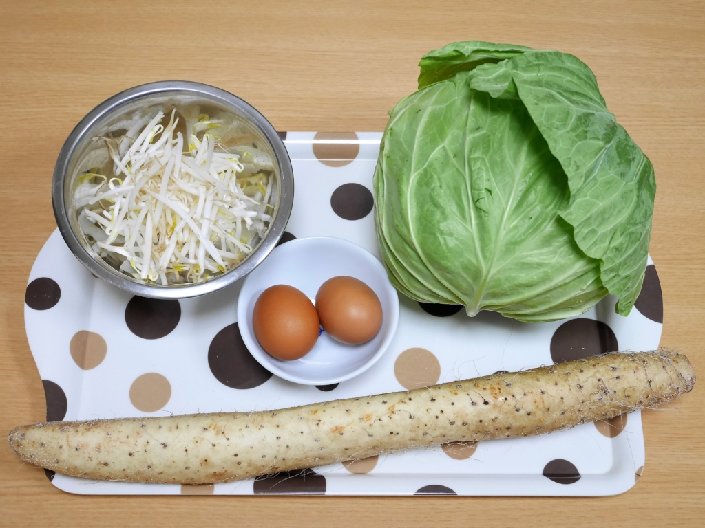 Bean sprouts, Cabbage, Eggs and Chinese yam