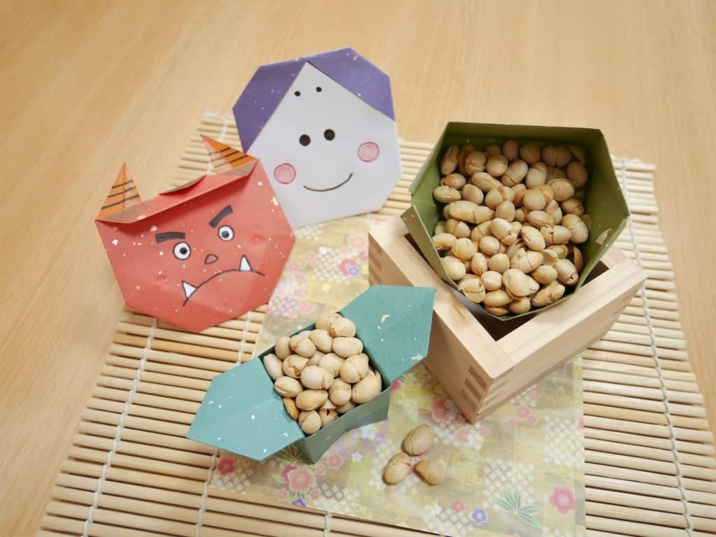 Setsubun beens on masu and origami